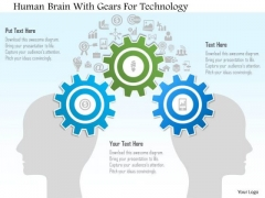 Human Brain With Gears For Technology PowerPoint Template