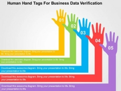 Human Hand Tags For Business Data Verification PowerPoint Template