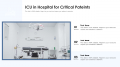 ICU In Hospital For Critical Pateints Ppt PowerPoint Presentation File Design Inspiration PDF