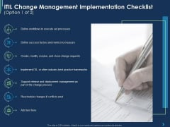 ITIL Change Management Implementation Checklist Processes Ppt Icon Brochure PDF