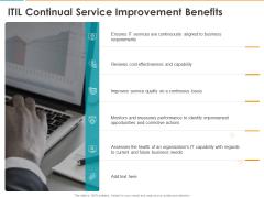 ITIL Continual Service Improvement Benefits Ppt Model Show PDF