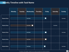 ITIL Strategy Service Excellence Weekly Timeline With Task Name Ppt PowerPoint Presentation File Layout Ideas PDF