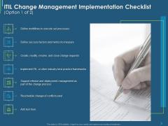 ITIL Transformation Management Strategy ITIL Change Management Implementation Checklist Ppt Inspiration Master Slide PDF