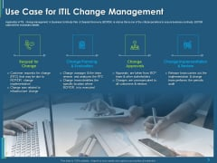 ITIL Transformation Management Strategy Use Case For ITIL Change Management Ppt Styles Deck PDF