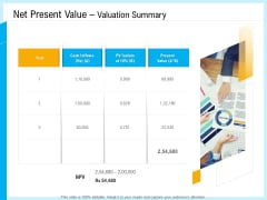 IT And Cloud Facilities Management Net Present Value Valuation Summary Ppt Summary Ideas PDF