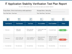 IT Application Stability Verification Test Plan Report Ppt PowerPoint Presentation File Background Image PDF