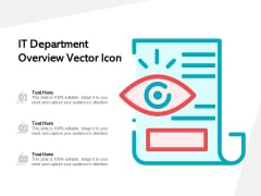 IT Department Overview Vector Icon Ppt PowerPoint Presentation Slides File Formats PDF