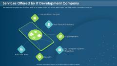 IT Development Company Pitch Deck Services Offered By IT Development Company Download PDF