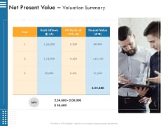 IT Infrastructure Governance Net Present Value Valuation Summary Ppt Gallery Shapes PDF