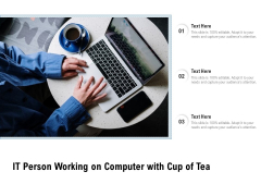 IT Person Working On Computer With Cup Of Tea Ppt PowerPoint Presentation Summary Portfolio PDF