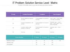 IT Problem Solution Service Level Matrix Ppt PowerPoint Presentation File Slide Download PDF