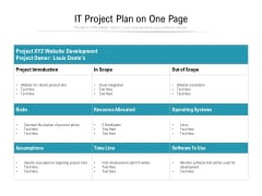 IT Project Plan On One Page Ppt PowerPoint Presentation File Outline PDF