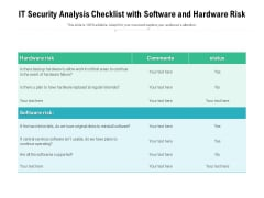 IT Security Analysis Checklist With Software And Hardware Risk Ppt PowerPoint Presentation Icon Examples PDF