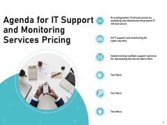 IT Support And Monitoring Services Pricing Agenda For IT Support And Monitoring Services Pricing Elements PDF