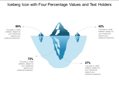 Iceberg Icon With Four Percentage Values And Text Holders Ppt Powerpoint Presentation Outline Example File