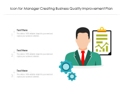 Icon For Manager Creating Business Quality Improvement Plan Ppt PowerPoint Presentation Gallery Model PDF