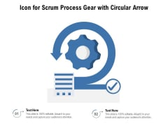 Icon For Scrum Process Gear With Circular Arrow Ppt PowerPoint Presentation Graphics PDF