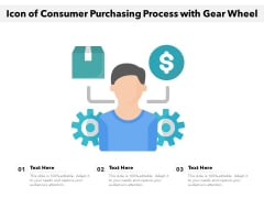 Icon Of Consumer Purchasing Process With Gear Wheel Ppt PowerPoint Presentation File Graphics Design PDF