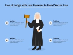 Icon Of Judge With Law Hammer In Hand Vector Icon Ppt PowerPoint Presentation Gallery Guidelines PDF
