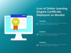 Icon Of Online Learning Degree Certificate Displayed On Monitor Ppt PowerPoint Presentation Gallery Sample PDF