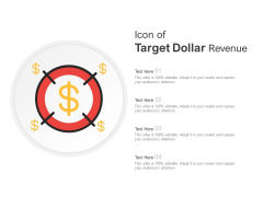 Icon Of Target Dollar Revenue Ppt PowerPoint Presentation Professional Gallery