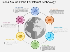 Icons Around Globe For Internet Technology Powerpoint Templates