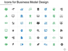 Icons For Business Model Design Ppt PowerPoint Presentation Model Example