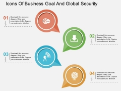 Icons Of Business Goal And Global Security Powerpoint Templates
