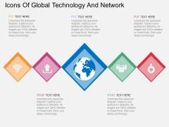 Icons Of Global Technology And Network Powerpoint Templates