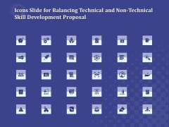 Icons Slide For Balancing Technical And Non Technical Skill Development Proposal Guidelines PDF