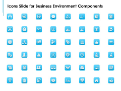 Icons Slide For Business Environment Components Ppt Model Professional PDF
