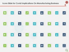 Icons Slide For COVID Implications On Manufacturing Business Ppt Layouts Graphics Tutorials PDF