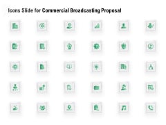 Icons Slide For Commercial Broadcasting Proposal Background PDF
