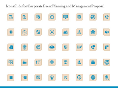 Icons Slide For Corporate Event Planning And Management Proposal Ppt Slides Deck PDF