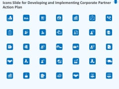 Icons Slide For Developing And Implementing Corporate Partner Action Plan Themes PDF