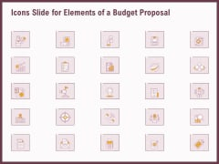 Icons Slide For Elements Of A Budget Proposal Ppt Professional Icons PDF