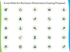 Icons Slide For Exclusive Illustration Gaming Proposal Themes PDF