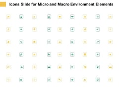 Icons Slide For Micro And Macro Environment Elements Ppt Pictures Clipart PDF