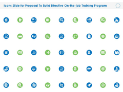 Icons Slide For Proposal To Build Effective On The Job Training Program Ppt PowerPoint Presentation Model Topics PDF