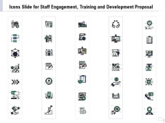 Icons Slide For Staff Engagement Training And Development Proposal Mockup PDF