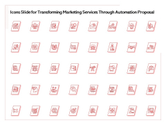 Icons Slide For Transforming Marketing Services Through Automation Proposal Designs PDF