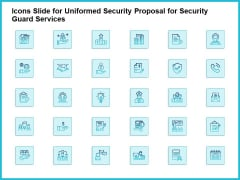 Icons Slide For Uniformed Security Proposal For Security Guard Services Brochure PDF