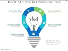Idea Bulb For Good Customer Service Ideas Powerpoint Slides Templates