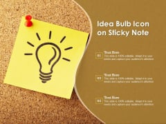Idea Bulb Icon On Sticky Note Ppt PowerPoint Presentation Layouts Vector PDF