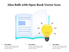 Idea Bulb With Open Book Vector Icon Ppt PowerPoint Presentation File Maker PDF
