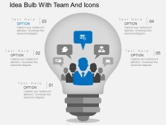 Idea Bulb With Team And Icons Powerpoint Templates