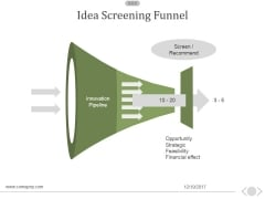 Idea Screening Funnel Ppt PowerPoint Presentation Ideas