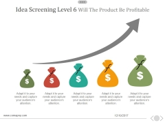Idea Screening Level 6 Will The Product Be Profitable Ppt PowerPoint Presentation Ideas