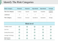 Identify The Risk Categories Ppt PowerPoint Presentation Model Topics
