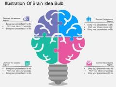 Illustration Of Brain Idea Bulb Powerpoint Templates